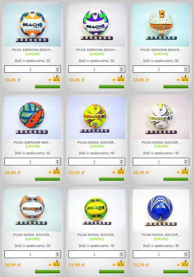 artykuły sportowe: Piłki do gry w siatkówkę, do nogi, do gry w piłkę nożną, import, hurt, oferta na sezon lato 2012